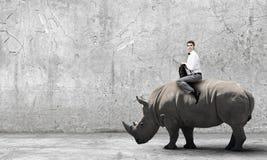 Rinoceronte del paseo del hombre Fotos de archivo libres de regalías
