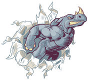 Rinoceronte della mascotte del fumetto che strappa con la destra di carta del fondo Fotografia Stock Libera da Diritti