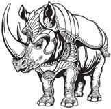 Rinoceronte nell'armatura illustrazione di stock