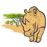 Rinoceronte no projeto de cartão do savana Fotos de Stock