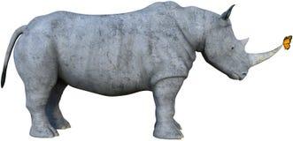 Rinoceronte, rinoceronte, mariposa de monarca, aislada libre illustration