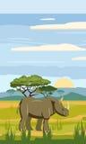 Rinoceronte sui precedenti del paesaggio africano, savanna Immagini Stock Libere da Diritti
