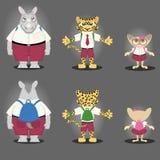 Rinoceronte, tigre, y Tarsius del personaje de dibujos animados Imágenes de archivo libres de regalías