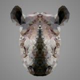 Rinoceros laag polyportret Stock Fotografie