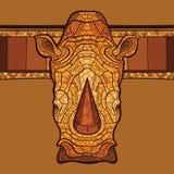 Rinoceroshoofd met etnisch ornament Stock Afbeelding