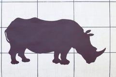 Rinocerossilhouet royalty-vrije stock afbeeldingen