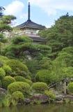 Rinoji Temple. Image of the garden and the pagoda of Rinoji Temple, Sendai, Japan - summer view Stock Photo