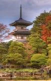Rinoji Temple Pagoda. Autumn image of the garden and Pagoda from Rinoji temple,Sendai,Japan.(HDR image Stock Photo