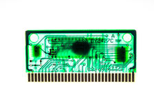 Rinted circuit Board and memory chip green with the glowing background Stock Image