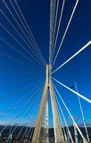 Rio–Antirrio-officially Charilaos Trikoupis-Bridge crossing the Gulf of Corinth and linking the  Peloponnese to mainlan Greece. The Rio–Antirrio-officially Stock Photos