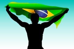 rio Бегун 2016 иллюстрации игр Бразилии с бразильским флагом Цвет лета атлетических игр 2016 - зеленых, желтый, голубой Стоковые Фото