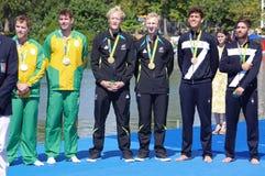 Rio2016人的划船coxless对奖牌仪式 库存图片