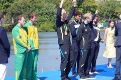Rio2016人的划船coxless对奖牌仪式 免版税图库摄影
