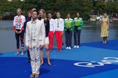 Rio2016妇女的双重短桨的胜利仪式 库存照片