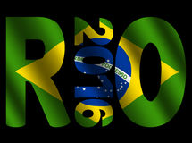 Rio 2016 text with flag. Rio 2016 text with rippled Brazilian flag illustration Stock Image
