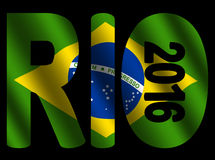 Rio 2016 text with flag. Rio 2016 text with rippled Brazilian flag illustration Stock Images