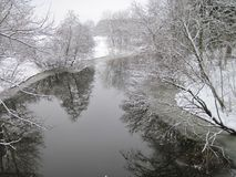 Rio agradável com superfície lisa da água e árvores na geada Imagem de Stock Royalty Free