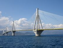 Rio antirio bridge. In daylight royalty free stock images