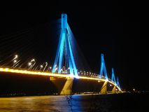 Rio Antirio Bridge at Night. Greek bridge stock photography