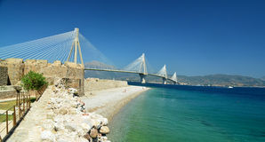 Rio antirio cable bridge in patra greece. View from castle stock image