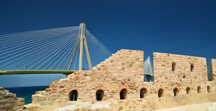 Rio antirio cable bridge in patra greece. View from castle stock photo