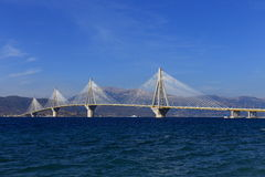 Rio - Antirio suspension bridge, Patra, Greece. Panoramic view of Rio - Antirio suspension bridge, Patra, Greece, black and white photo stock photography