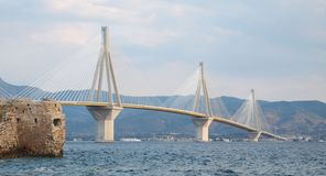 Rio-Antirion Bridge. Rio-Antirion  suspension bridge, Patra, Greece Royalty Free Stock Images
