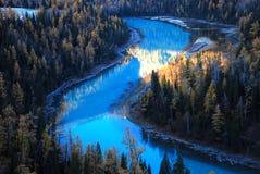 Rio azul na floresta Foto de Stock