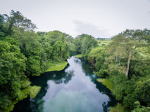 Rio azul/rio de Tulu/rio de Niari, Congo imagens de stock royalty free