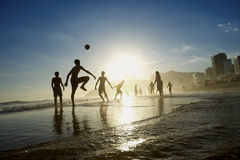 Rio Beach Football Active Silhouettes Playing Altinho Royalty Free Stock Images