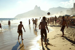 Rio Beach Football Brazilians Playing Altinho Stock Images