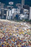 Rio beach & umbrellas during carnival stock photos