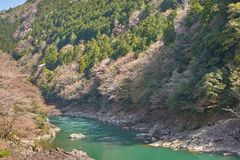 Rio bonito de Katsura em Arashiyama Fotos de Stock Royalty Free