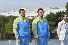 Olympic Games Rio 2016. Rio, Brazil. Aug 20, 2016. IANCHUK and MISHCHUK, (bronze medal) during Men's Canoe Double 1000m podium at the Rio2016 Summer Olympic Stock Photos