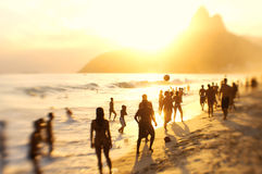 Rio Brazil Beach Football Brazilians Playing Altinho Stock Images
