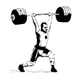 Rio. 2016 Brazil Games illustration The sketch illustration Weightlifter, clean and Jerk Royalty Free Stock Image