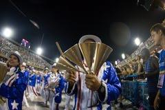 Carnival 2019 - Estacio de Sa. Rio, Brazil - march 02, 2019: Estacio de Sa during the Carnival Samba School Carnival RJ. Percussion (agogo janeiro parade dancer royalty free stock photo
