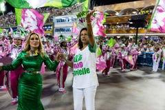 Carnival 2019 - Mangueira. Rio, Brazil - march 04, 2019: Mangueira during the Carnival Samba School Carnival RJ 2019, at Sambodromo, widow of Marielle Franco royalty free stock photos