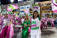 Carnival 2019 - Mangueira. Rio, Brazil - march 04, 2019: Mangueira during the Carnival Samba School Carnival RJ 2019, at Sambodromo, widow of Marielle Franco stock photo
