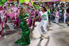 Carnival 2019 - Mangueira. Rio, Brazil - march 04, 2019: Mangueira during the Carnival Samba School Carnival RJ 2019, at Sambodromo, widow of Marielle Franco stock image