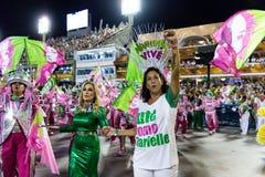 Carnival 2019 - Mangueira. Rio, Brazil - march 04, 2019: Mangueira during the Carnival Samba School Carnival RJ 2019, at Sambodromo, widow of Marielle Franco royalty free stock photo
