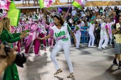 Carnival 2019 - Mangueira. Rio, Brazil - march 04, 2019: Mangueira during the Carnival Samba School Carnival RJ 2019, at Sambodromo, widow of Marielle Franco royalty free stock image