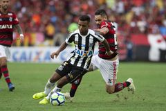 Rio, Brazil - november 15, 2018: Para and Rodrygo player in match between Flamengo and Santos by the Brazilian Championship in stock photos