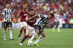 Rio, Brazil - november 15, 2018: Para and Rodrygo player in match between Flamengo and Santos by the Brazilian Championship in stock photo