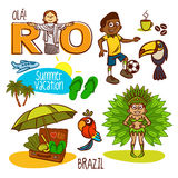 Rio Brazil Summer Vacation Travel illustration stock