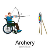 Rio 2016, brazilian archery game for handicapped, disability sport, athlete with prosthesis Royalty Free Stock Image