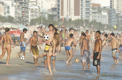 Rio Brazilians Playing Altinho Futebol Beach Football Royalty Free Stock Image
