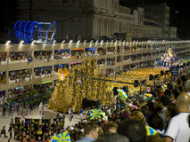 Rio Carnival. Large carnival float parading down Sambadrome, Rio Carnival Stock Photography