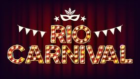 RIO Carnival Background Vector. Carnival Vintage Style Illuminated Light. For Night Party Poster Design. Vintage. RIO Carnival Background Vector. Carnival Stock Image