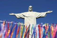 Rio Carnival Celebration en la estatua de Corcovado Fotografía de archivo libre de regalías